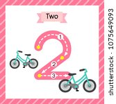 cute children flashcard number... | Shutterstock .eps vector #1075649093