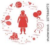 fat girl  badminton rackets and ... | Shutterstock .eps vector #1075666973