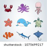 illustration of underwater... | Shutterstock .eps vector #1075699217
