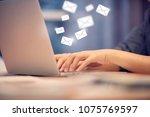 close up woman hand using... | Shutterstock . vector #1075769597