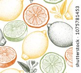 citrus seamless pattern. lemon...   Shutterstock .eps vector #1075781453