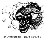 horrible giant dinosaur  the... | Shutterstock .eps vector #1075784753
