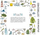 hand drawn doodle fishing icons ... | Shutterstock .eps vector #1075802483
