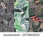 tropical background with palm... | Shutterstock .eps vector #1075803053