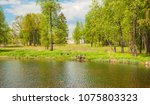 spring landscape with a forest... | Shutterstock . vector #1075803323
