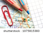 glasgow city of great britain... | Shutterstock . vector #1075815383
