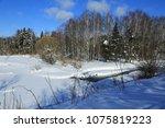 winter landscape russia moscow... | Shutterstock . vector #1075819223
