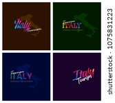 tourism italy typography logo... | Shutterstock .eps vector #1075831223