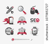 set of seo icons containing ...