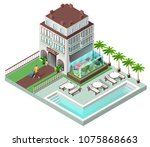 tourist hotel and sun loungers...   Shutterstock .eps vector #1075868663