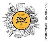 hand drawn fast food banner.... | Shutterstock . vector #1075869773
