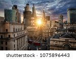 sunrise behind the city of... | Shutterstock . vector #1075896443