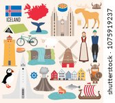 Set with architecture, national flag, costume, map and other Iceland symbols in flat style. Vector illustration