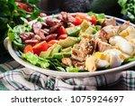 healthy cobb salad with chicken ... | Shutterstock . vector #1075924697