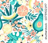 seamless pattern with tropical... | Shutterstock .eps vector #1075932197