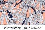 floral seamless pattern  split... | Shutterstock .eps vector #1075936367