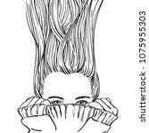 fantasy sketch of teenage girl... | Shutterstock .eps vector #1075955303