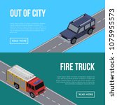 out of city flyers with car and ... | Shutterstock .eps vector #1075955573