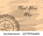 find your way banner with retro ... | Shutterstock .eps vector #1075956683