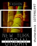 photo print new york typography ... | Shutterstock . vector #1075981997