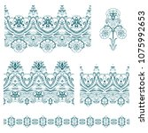 set of vector isolated  floral... | Shutterstock .eps vector #1075992653