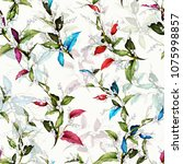 stylized seamless floral... | Shutterstock .eps vector #1075998857