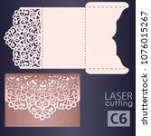 laser cut wedding invitation... | Shutterstock .eps vector #1076015267