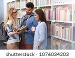 university students working in...   Shutterstock . vector #1076034203