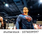 Small photo of KUALA LUMPUR, MALAYSIA -MARCH 24, 2017: Fiction character of SUPERMAN from DC movies and comic. SUPERMAN action figure toys in various size display for public.
