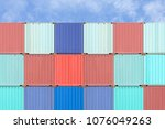 colorful stack of container... | Shutterstock . vector #1076049263