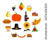 Thanksgiving Icons Set In Flat...