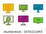 hd tv icon set. color outline... | Shutterstock .eps vector #1076111693