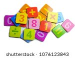 math number colorful on white...   Shutterstock . vector #1076123843