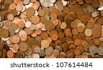 uk currency background with dirty coins - stock photo