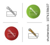 stationery knife cutting paper... | Shutterstock .eps vector #1076158637