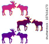 two moose love silhouettes set  ... | Shutterstock .eps vector #107616173