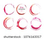 vector set of isolated red wine ... | Shutterstock . vector #1076163317