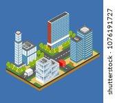 isometric city building... | Shutterstock .eps vector #1076191727
