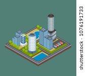 isometric city building... | Shutterstock .eps vector #1076191733