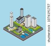 isometric city building... | Shutterstock .eps vector #1076191757
