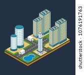 isometric city building... | Shutterstock .eps vector #1076191763