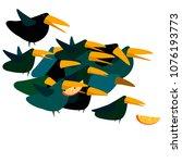 crow cartoons  a stylized green ... | Shutterstock .eps vector #1076193773