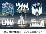 camping badges  mountains... | Shutterstock .eps vector #1076206487