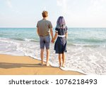 young couple in love standing... | Shutterstock . vector #1076218493