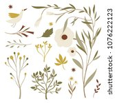 vector floral set | Shutterstock .eps vector #1076222123