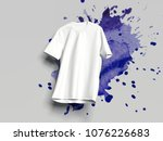 white realistic t shirt on... | Shutterstock . vector #1076226683