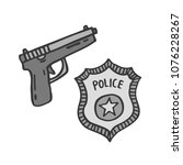 police badge and gun doodle icon | Shutterstock .eps vector #1076228267