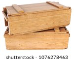 wooden box isolated on white... | Shutterstock . vector #1076278463