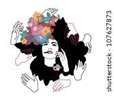 girl with flowers in her hair ... | Shutterstock .eps vector #107627873