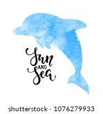sun and sea. hand drawn... | Shutterstock .eps vector #1076279933